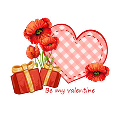 Valentines card with gifts and flowers