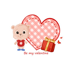 Valentines card with teddy bear gifts and heart