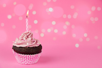 Pink birthday cupcake with lights