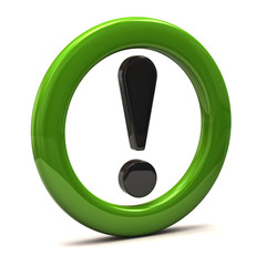 Exclamation sign in green ring