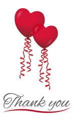 Thank you with heart balloons