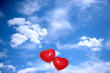 Love heart  baloons on sky background