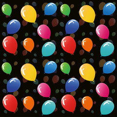 colorful balloons seamless pattern on black background