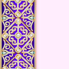 background with vintage gems and strip for text