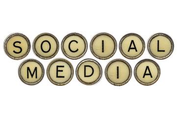 social media in  typewriter keys
