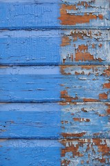Old vibrant blue painted wooden background