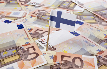 Flag of Finland sticking in 50 Euro banknotes.(series)