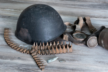 Helmet, war, bullets, gas mask, Cross of War, military