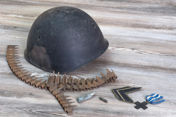 Helmet, war, bullets, Cross of War, military ranks
