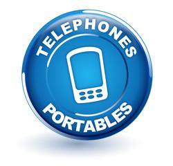 téléphones portables sur bouton bleu