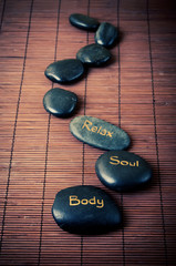 Black massage stones