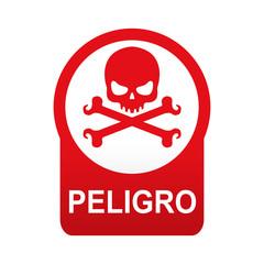 Etiqueta app abajo roja redonda PELIGRO