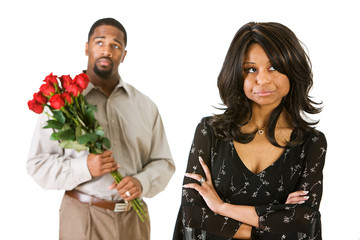 Couple: Man With Flowers to Apologize