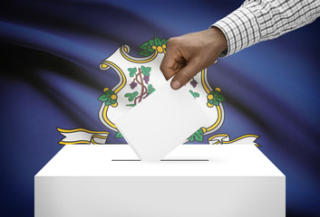 Ballot box with US state flag on background - Connecticut