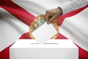 Ballot box with US state flag on background - Florida