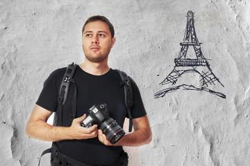 Tourist in Paris taking photos