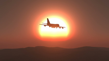 Plane sunset sunrise seamless looping