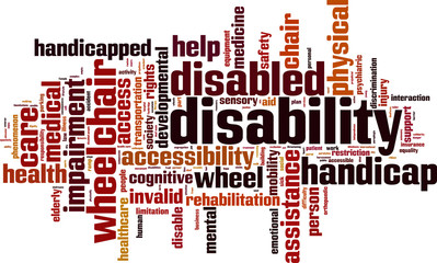 Disability word cloud concept. Vector illustration