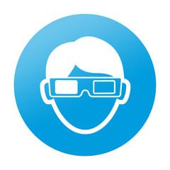 Etiqueta tipo app redonda espectador 3D