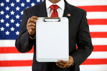 Politician: Holding Up a Clipboard with Blank Paper