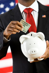 Politician: Depositing Money into a Piggy Bank