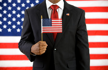 Politician: Holding a United States Flag