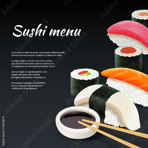 Sushi On Black Background - 76120879