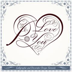 Calligraphic Heart Decorative Valentine Artwork