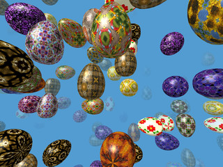Flying easter eggs generated 3D background