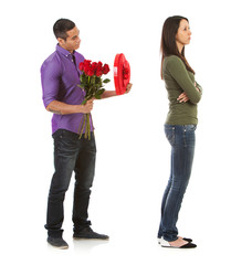 Valentine: Woman Ignoring Man With Romantic Gifts