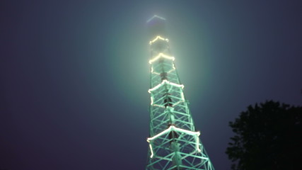 Television tower at night decorated with fires. St. Petersburg.