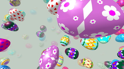 Flying easter eggs generated 3D video