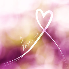 Heart white ribbon with love you