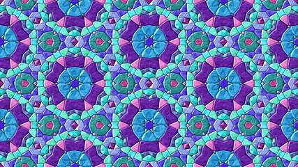 Glass mosaic kaleidoscopic generated seamless loop video