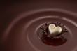 Gold heart falls into hot chocolate - 76122859
