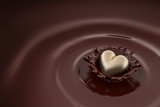Gold heart falls into hot chocolate