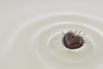 Chocolate heart falls into milk