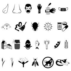 Vector black allergies icons set
