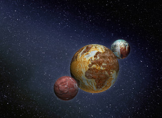 rusty planets in space