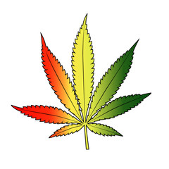 Cannabis leaf with rastafarian flag colors, vertical.