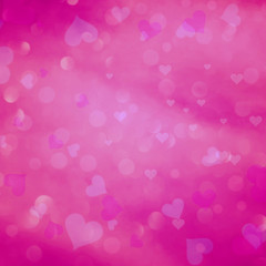 Pink color blurred heart bokeh