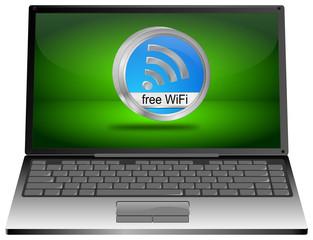 Laptop mit free WiFi Wlan Button