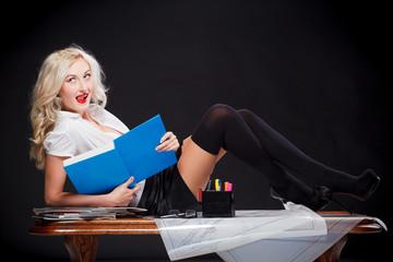 teacher on the table