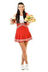 Cheerleader: Holding Beer and Sandwiches