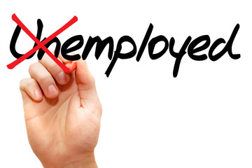 Turning the word Unemployed into Employed, business concept