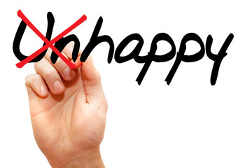 Turning the word Unhappy into Happy, business concept