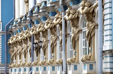 Katherine Palace hall in Tsarskoe Selo, Russia..