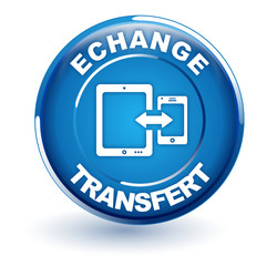 échange transfert de données sur bouton bleu