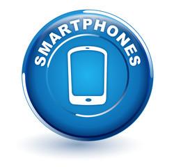 smartphones sur bouton bleu