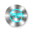 Start Engine button on Carbon fiber background. Vector realistic - 76125242